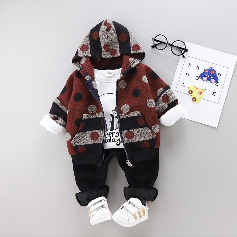 0-4 years High quality boys clothing set 2019 winter warm thicken woolen children clothing kids clothes baby boys clothes