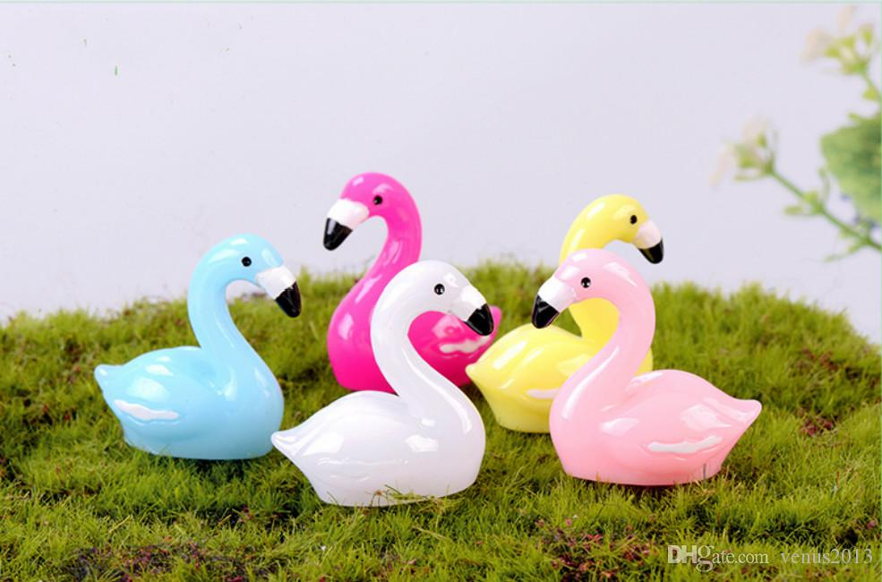 Colorful Flamingo Pendant Figurines Ornament Miniatures for Terrariums Fairy Garden Decoration Thanksgiving Day Gift DIY Accessory