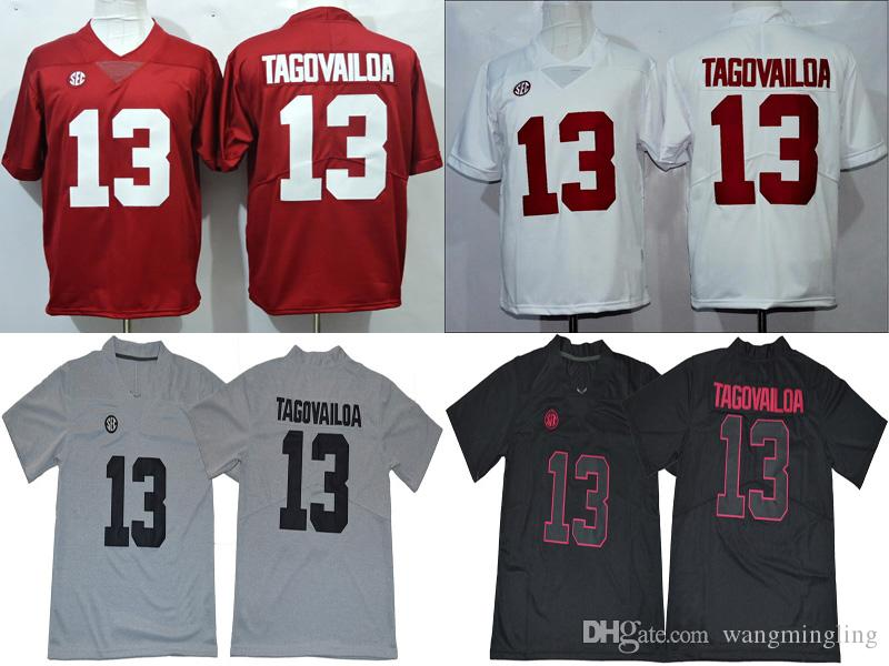 competitive price 669e5 26312 Men college alabama crimson tide jerseys white red black gray 13 Tua  Tagovailoa adult size football jersey stitched free shipping
