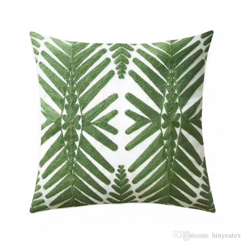 Brand New Geometric Embroidery Green Tree Pillow Case Gift Home Sofa