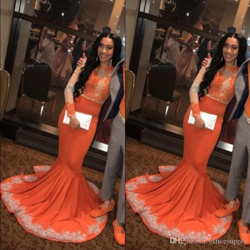 43caebf6f8 African Black Girls Mermaid Orange Prom Party Dresses 2019 Long Sleeve Lace  Applieque Plus Size Plus Size Evening Gowns Sparkly Prom Dresses Tight Prom  ...