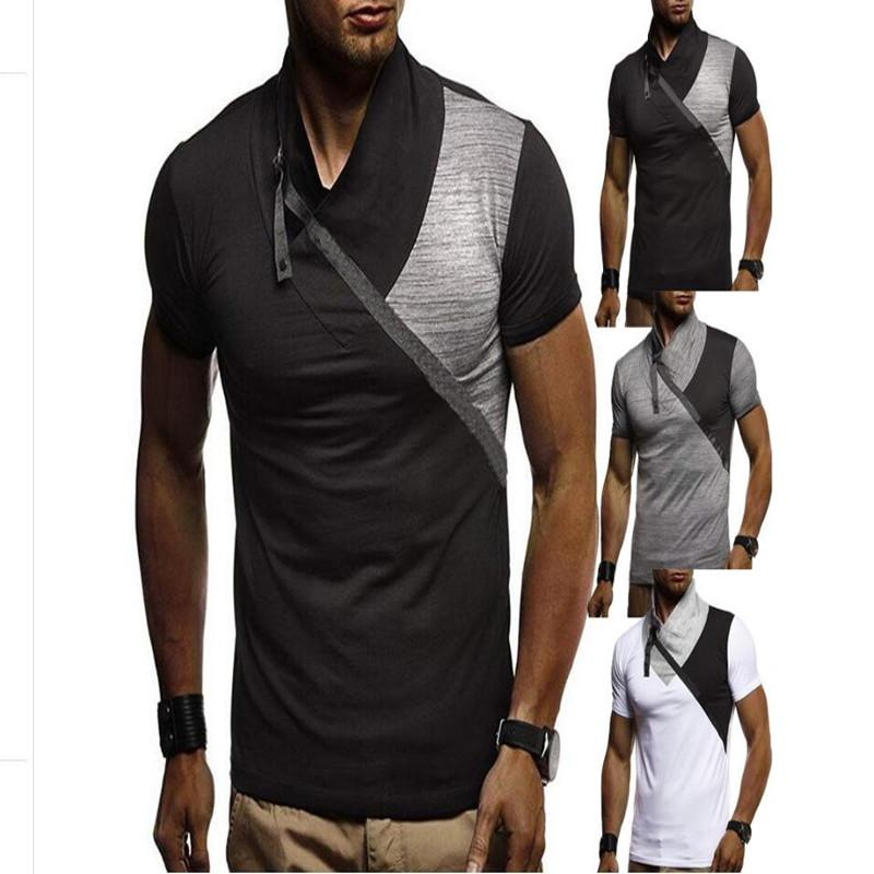 21f8a06ecfa The latest men s short sleeved T-shirt 2019 pile collar collars spliced  collar men s casual T-shirt large size base shirt T-shir