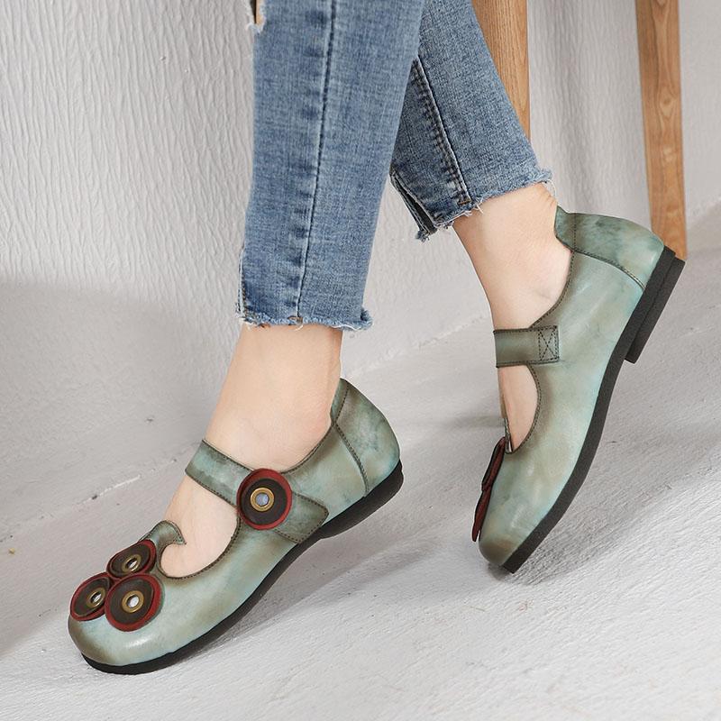 65648c70b40b0 Retro Genuine Leather Mary Jane Shoes Women Flats New Vintage Handmade Hook  Loop Flat Heel Ladies Shoes Comfortable Soft Bottom Sneakers Shoes Geox  Shoes ...