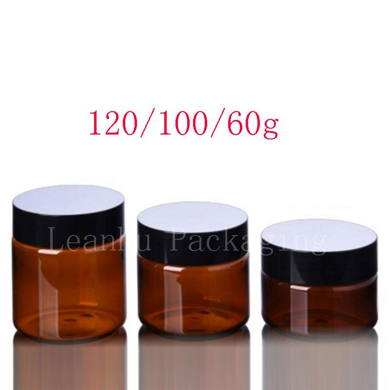 60g 100g 120g Brown PET Jar preto tampa, 60ml 100ml 120ml Esvaziar pó recipiente plástico Screw tampa, frascos de cosméticos Cream Pot