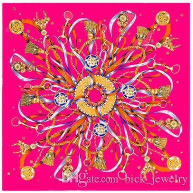 7fa3e9623ad54 2019 Brand Designer Silk Scarf Luxury New Women Colorful Pattern Shawls  Fashion Square Scarves Free Shipping 90*90 cm