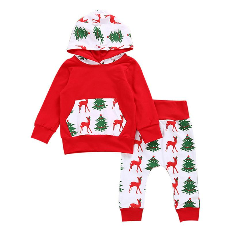 3c3fa5182a794 2019 2019 Christmas Clothes Kids Clothes Toddler Baby Girls Boys Deer  Printed Pocket Long Sleeve Hooded Tops+Pant Set Kids Set JY26#F From  Yosicil01, ...