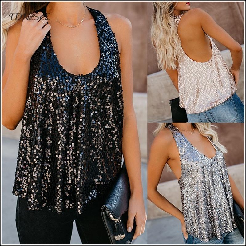 06645db6 2019 Women Sexy Loose Sequin Glitter Tank Tops Nightclub Party Low Cut  Shiny Tees Summer Casual Streetwear Backless Cami Vest 2019 Y19042801 From  Muyuxia, ...
