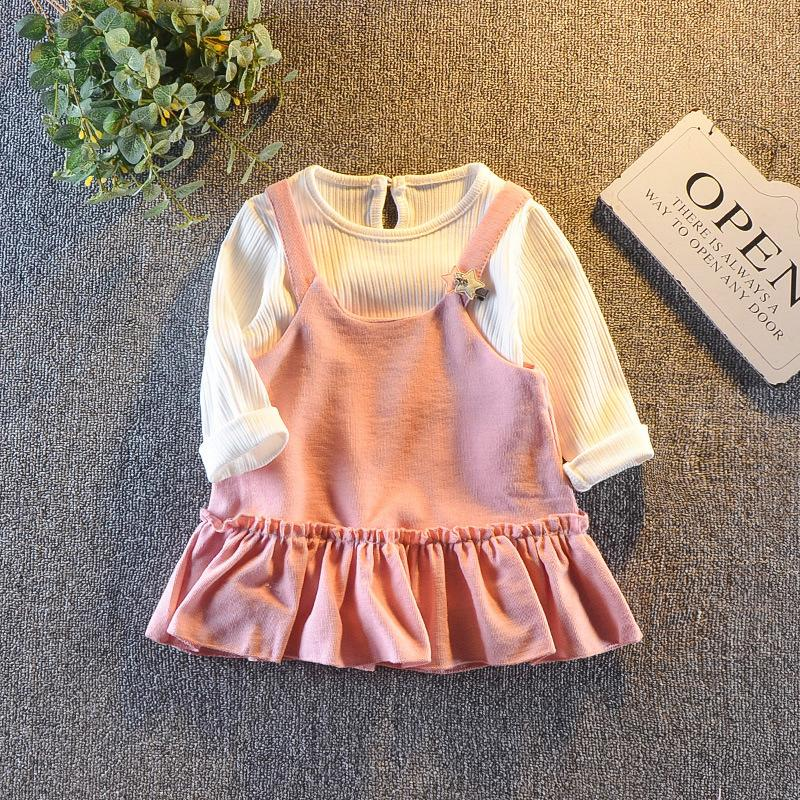 13a7d8f5 2019 Good Quality 2019 New Children Girls Dress Suit Spring Kids Clothing  Sets Princess Baby Girls Long Sleeved Dress + Strap Tops From Xiaocao04, ...