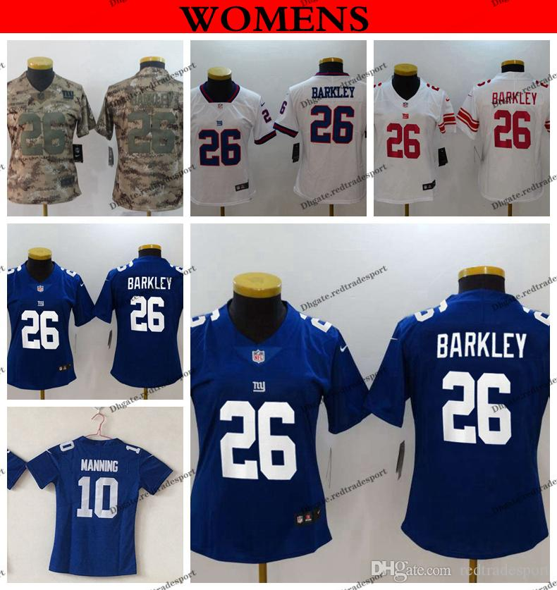 best quality ce9bf 66cd9 Womens Camo Salute to Service New York Ladies Giants Eli Manning 10 Saquon  Barkley 26 Girls Football Jersey