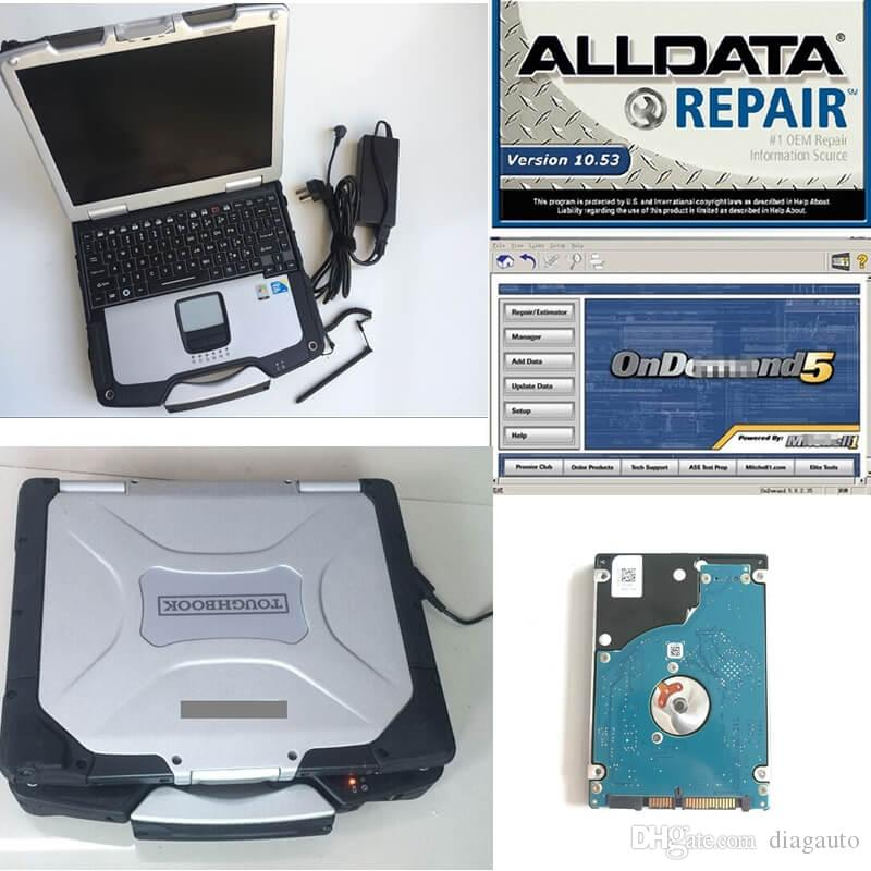 alldata 10.53 and mitch*ll ondemand 5 install well in toughbook cf30 laptop CF-30 car truck diagnostic computer hard disk 1000gb