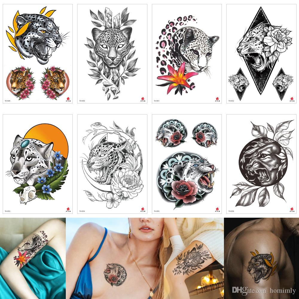 Leopard Decal Temporary Tattoo Body Art Sticker Animal Fake Black Sexy Cool Waterproof Tattoo Makeup Painting For Male Female Party Beach 3d