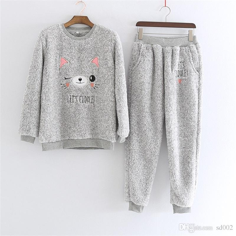Cheap Winter Thickened Flannel Bear Pajama Suit Cute Grey Keep Warm  Sleepwear Man And Women Vintage Home Clothing 59wb Ww e7ba90261