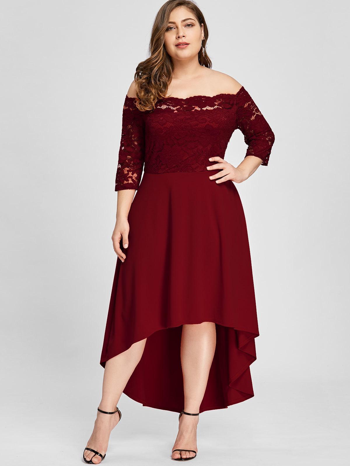 2019 Gamiss Women Party Dress Plus Size Off Shoulder Dip Hem Lace 3 4 Length  Sleeves Dress Asymmetrical Elegant Vestidos Big Size 5XL Y19012102 From ... f3260116e4cb