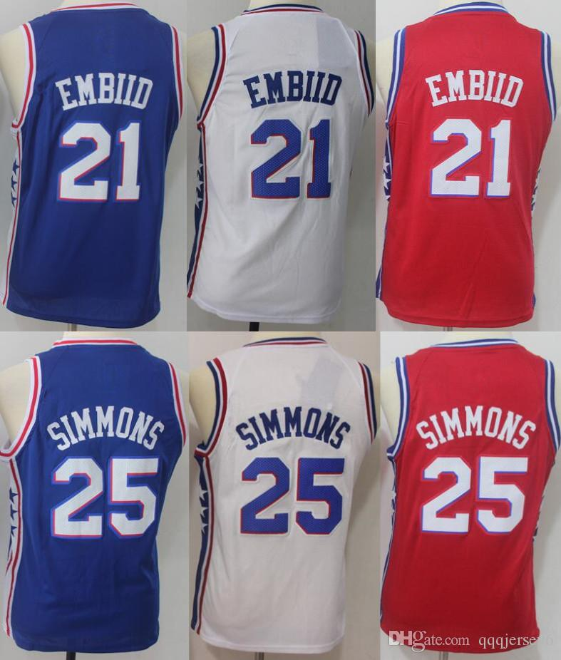2018 Best Quality Youth Kids 25 Ben Simmons 76ers Jerseys 21 Joel Embiid 20  Markelle Fultz Jersey White Blue Red From Qqqjersey6 55d845b8a