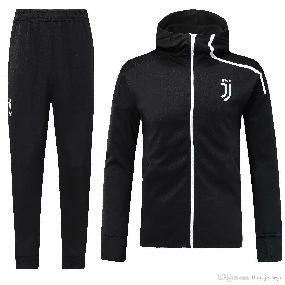 c1f314168 Thailand Juventus Hoodies Jacket Kit Soccer Training Suits 2018 Long ...