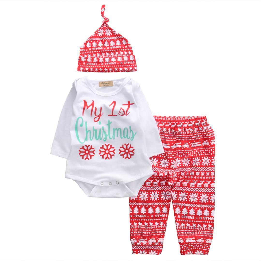 e6152f1de7c78 Acheter Mode De Noël Ensemble Nouveau Né Enfant Bébé Garçon Fille De Noël  Vêtements Lettre Imprimer Tops Rouge Neige Pantalon Chapeau Outfit De   45.47 Du ...