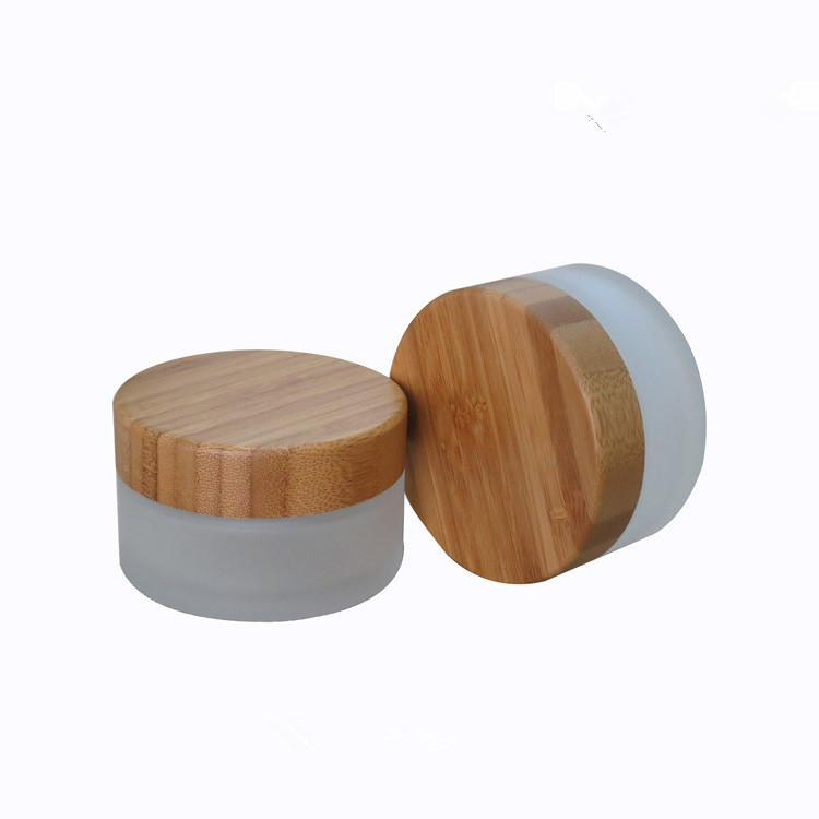 Wholesale- Free shipping 100g frosted glass cream jars with bamboo lids, 100ml frosted glass cosmetic jars with bamboo caps