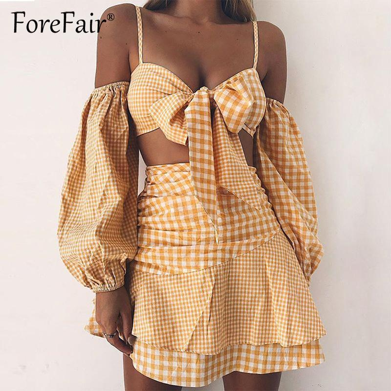 Forefair Plaid giallo 2 pezzi Set da donna Sexy Off spalla manica lunga Tie Bow Camis Tube Crop Top Ruffles gonna corta Tute Y19051501