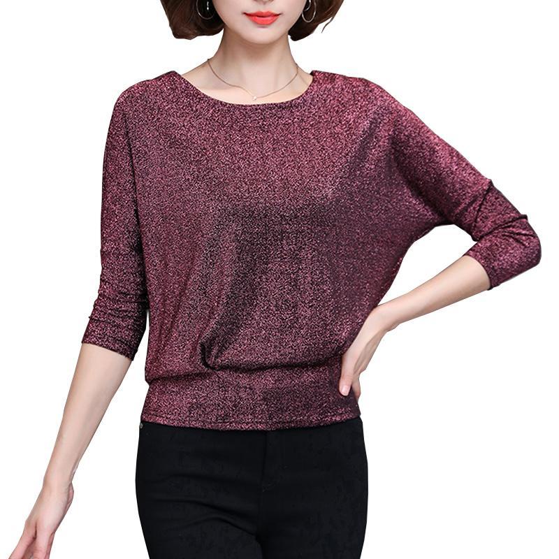 0e1630b2ec Blusas Mujer De Moda 2019 Korean Fashion Lurex Shiny Bat-sleeve Womens Tops  and Blouses Plus Size Clothes Women s Elegant Shirts