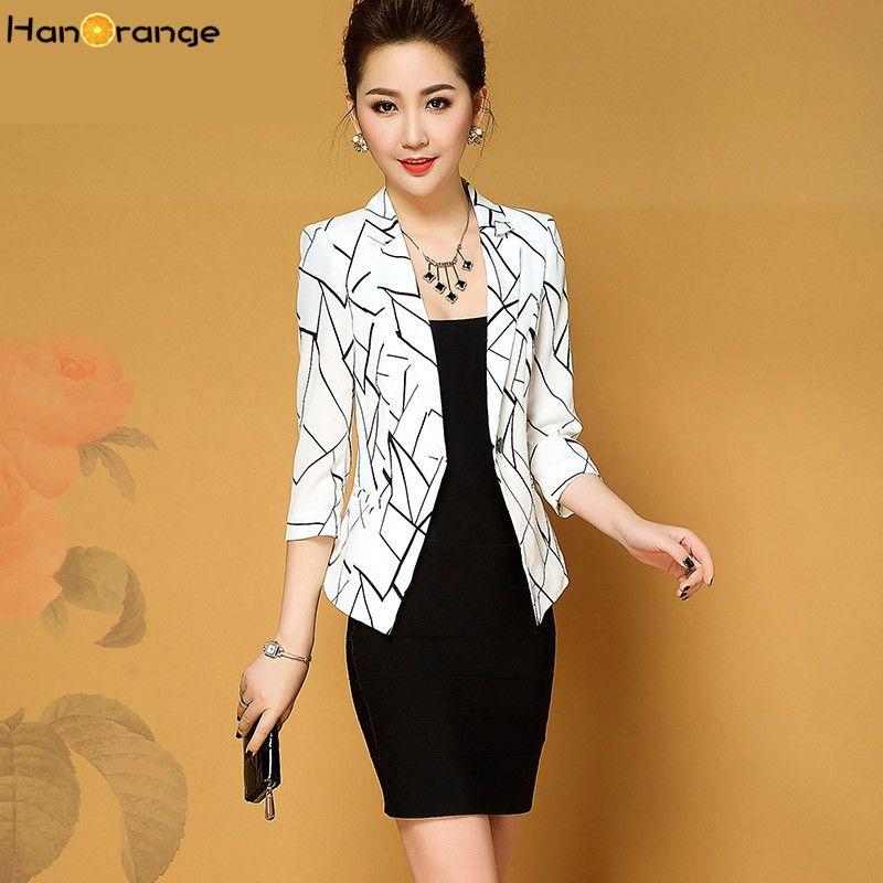 64aeec0d475 HanOrange Print Geometric 3 Quarter Sleeve Single Button Spring Autumn 2018 Women  Blazer Jacket White Black High Quality Womens Blaze China Blazer Jacket ...