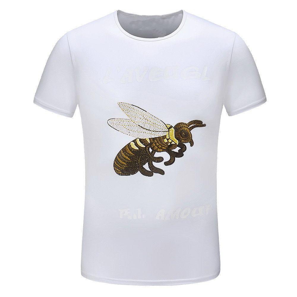 d2ba1fc963f94 Compre 2019 Nuevo Diseñador Para Hombre Polo Camisetas Moda Bee Print  Cuello Redondo Tees Alta Calidad Casual Transpirable Marca Camiseta A   23.56 Del ...
