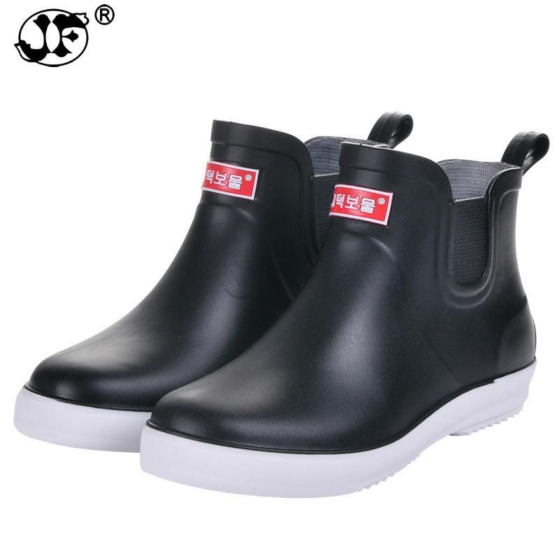 outlet store sale 972e3 a4bd8 Regen Schuhe Männer Winter Regen Stiefel niedrige Hilfe wasserdichte Schuhe  und Wolle Anti-Rutsch kurze Männer Wasser Stiefel Autowäsche Schuhe ujk90