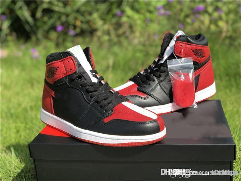 67b199095fa 2018 AirJordan1 Retro High Air OG NRG Homage To Home Chicago Bred 861428 061  Black White Red Basketball Shoes Sneakers With Original Box White Mountain  ...