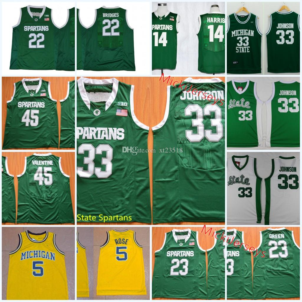 size 40 c0f65 97186 Men NCAA Michigan State Spartans Miles Bridges Basketball Jersey Jalen Rose  Gary Harris Draymond Green Denzel Valentine Magic Johnson Jersey