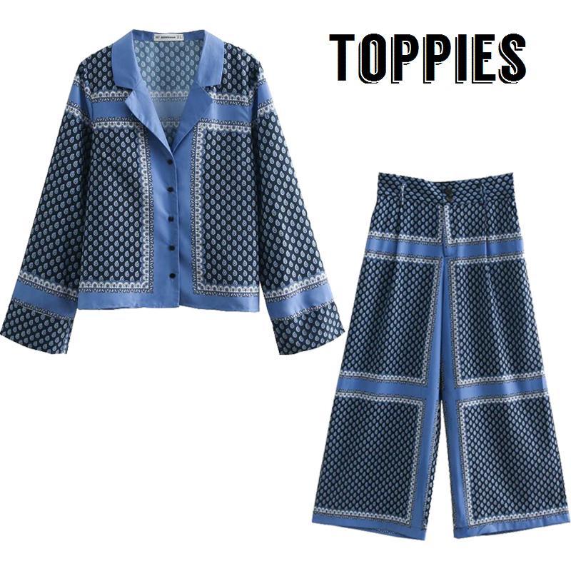 0d700b6ca88d 2019 2019 Spring Summer Pajamas Style Two Piece Set Women Long Sleeve  Printing Leisure Shirt High Waist Wide Leg Pants From Jinggongcoat