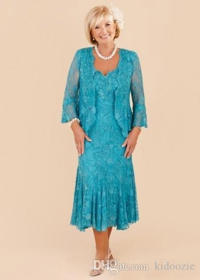 Elegant Design 2020 Turquoise Mother Of The Bride Dresses Long Sleeves Lace V Neck A Line Tea Length Mother Formal Wedding Party Gowns