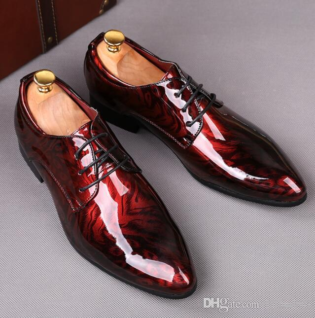 2019 Newly Men's Quality Patent Leather Shoes White Wedding Shoes Leather Soft Man Dress ShoesSize: EU39-45