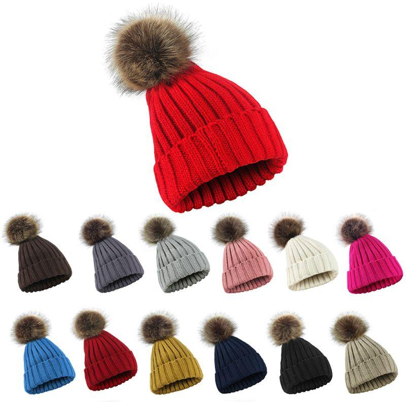 974f558c7dd 2019 Women Men Winter Ribbed Knitted Hat Solid Color Plain Woolen Cuffed  Beanie Cap Thicken With Cute Fluffy Pompom Ball Beanie With From Ekuanfeng