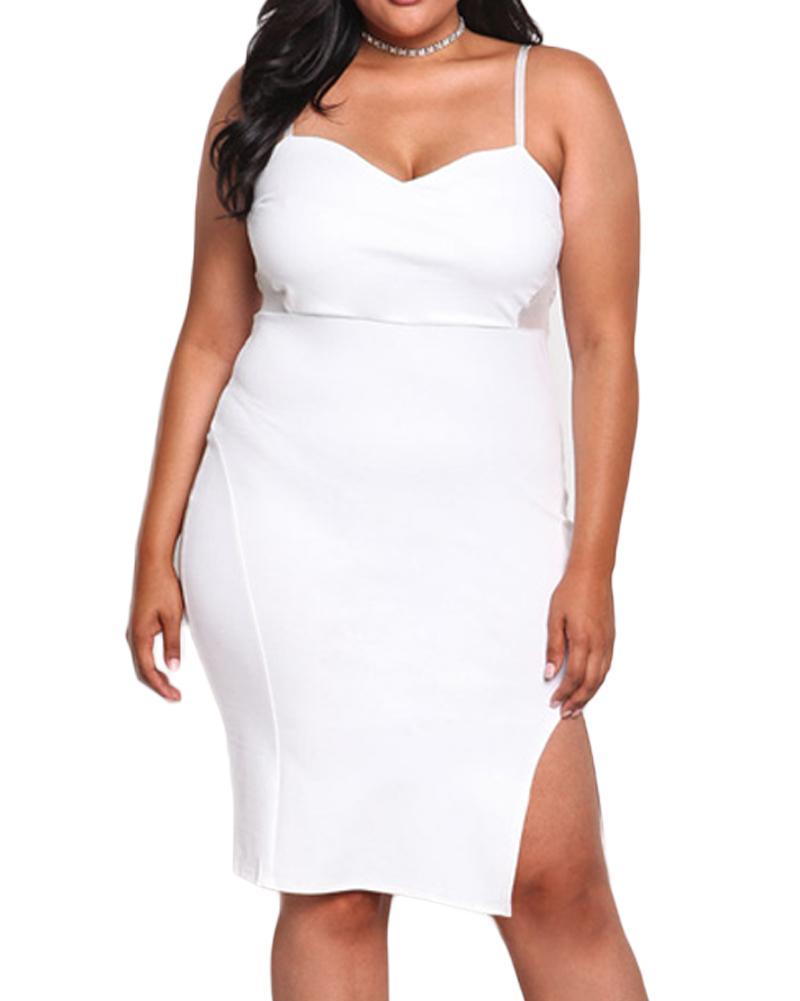 63e330f96d098 Plus Size Women Bodycon Dress 2019 Spaghetti Strap Sexy Slip Dress Backless  Mesh Panel Slit Hem Club Slim Midi Dress Black/White Floral Dresses For  Women ...