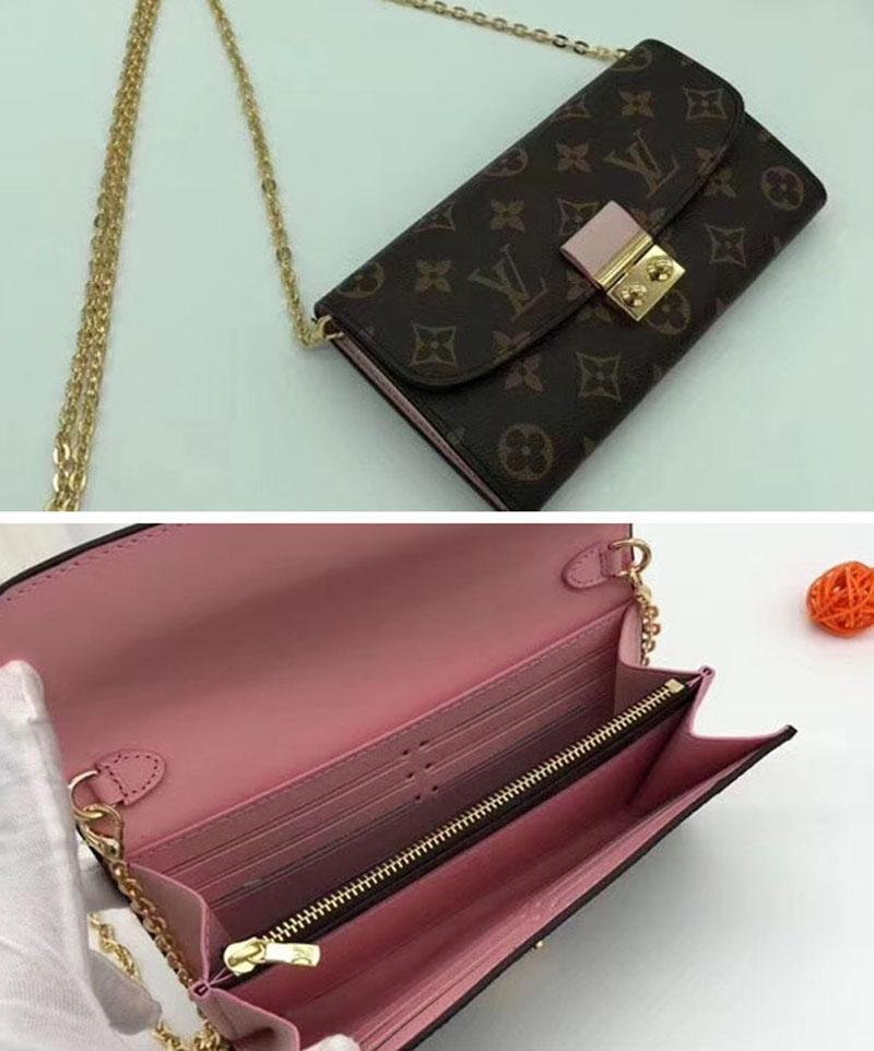 #5831 Croisette Wallet Luxury 5A+ Plaid Wallet For Women Designer Fashion Shows Exotic Leather Bags Clutches Evening Chain Wallets Purse
