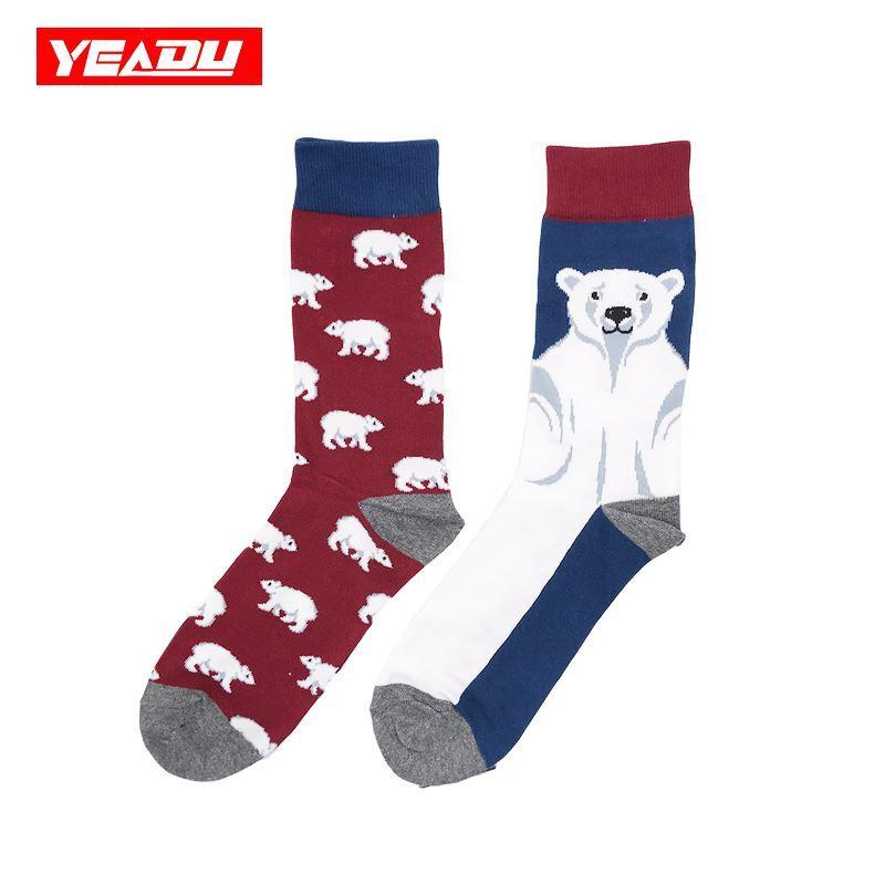 YEADU New Men's Asymmetrical Socks Cotton Colorful Fashion Cartoon Funny Harajuku Food Fruit Animal Happy Dress Crew Sock