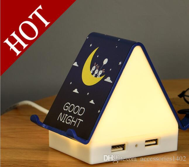 LED night light Cabin night light Warm cabin multi-function usb charger socket cartoon bedside lamp