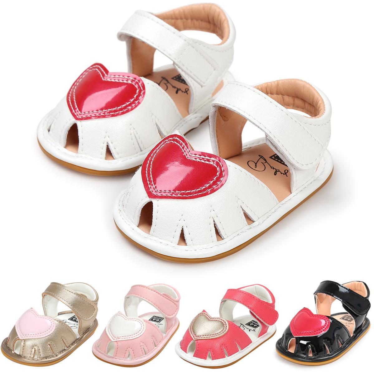 Enfant Coeur Né Nouveau En Été Chaussures Doux Plat Rouge Et Âge Printemps Bas Infantile Amour Sandales Bébé T5JclFuK13