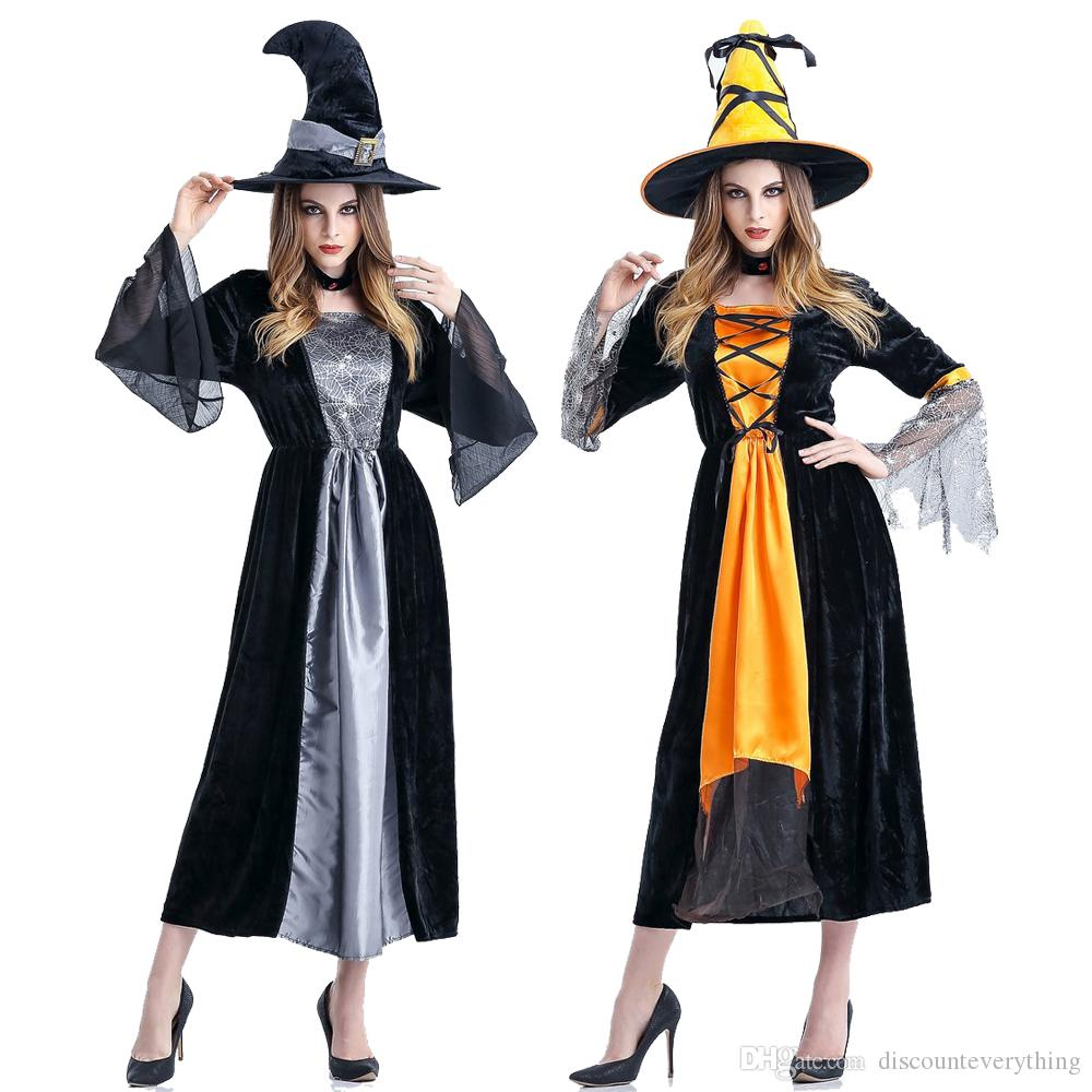 dfdbed1dfa4 Halloween Costumes Witch Costume Women Adult Adulto Fantasia Dress Hat  Deluxe Cosplay Clothing For Woman Magic Moment Halloween Team Themes Cheap  Halloween ...