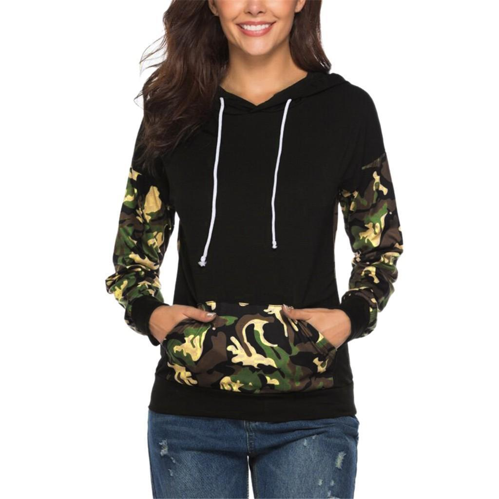 Feitong Fashion Women&s Sexy Hooded Long-sleeved Camouflage Sweatshirt Hoodie Personalized Wild Comfortable Top New Vogue Nice
