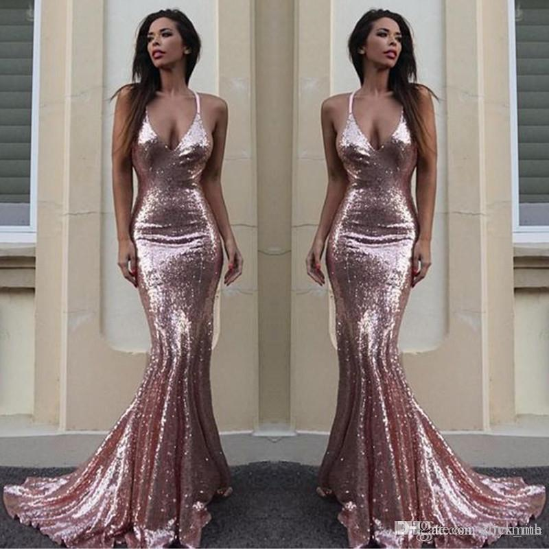 84dea3ea86b Sparkling Sequined Deep V Neck Prom Dresses Long Rose Gold Mermaid Evening  Dress Plain Sexy Low Backless Bridesmaid Dress Long Cheap Exotic Prom  Dresses ...