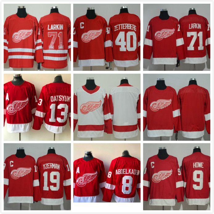 2019 Mens 8 Justin Abdelkader 71 Dylan Larkin 9 Gordie Howe 40 Henrik  Zetterberg Detroit Red Wings Hockey Jersey From Probowl 866780d9b