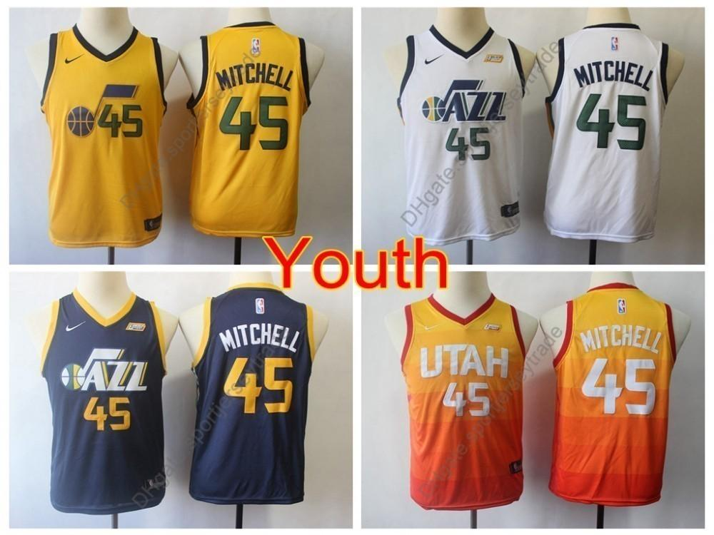 newest collection 08f1a 50e8e 2019 Boys Utah #45 Jazzes Donovan Mitchell Kids Basketball Jerseys Youth  Donovan Mitchell City Yellow Top Quality Stitched Size S-XL