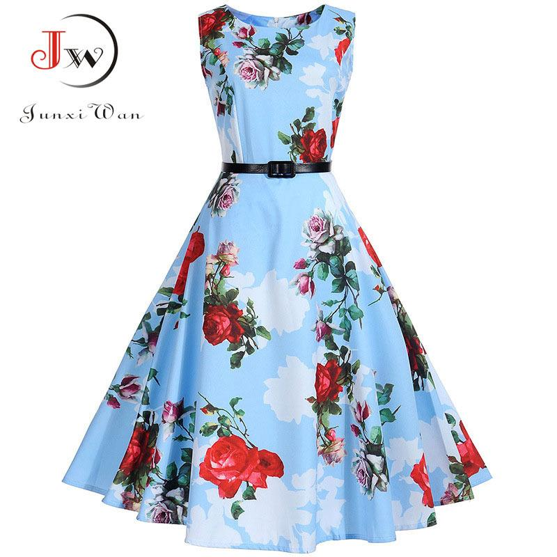 b4c0d6f4df Floral Print Vintage Dress Women Retro Pinup Tutu Dresses Hepburn 50s 60s  Rockabilly Robe Feminino Vestidos Swing Dresses S~3xl Y190123 UK 2019 From  Tao01
