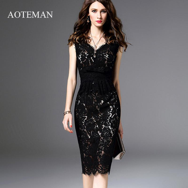 90844d9ff278 Elegant Summer Autumn Lace Bodycon Dress Women Fashion Sexy V Neck Pencil Dresses  Black Slim Office Dress Vestidos Robe Femme Black And White Dresses ...