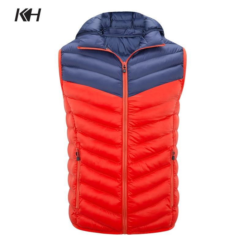 KH New Fashion Men's Autumn Winter Hooded Waistcoat Vest Stitching Cotton-Padded Vests Mens Windproof Warm Outerwear Coat