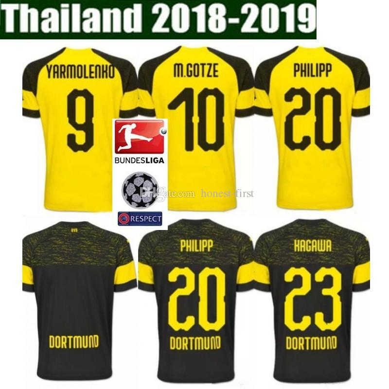 8839fdd9682 2019 Top Quality BVB Borussia Dortmund Soccer Jersey 2019 PHILIPP GOTZE  REUS PULISIC WITSEL Jersey 18 19 PACO ALCACER Football Kit Shirt From  Honest First