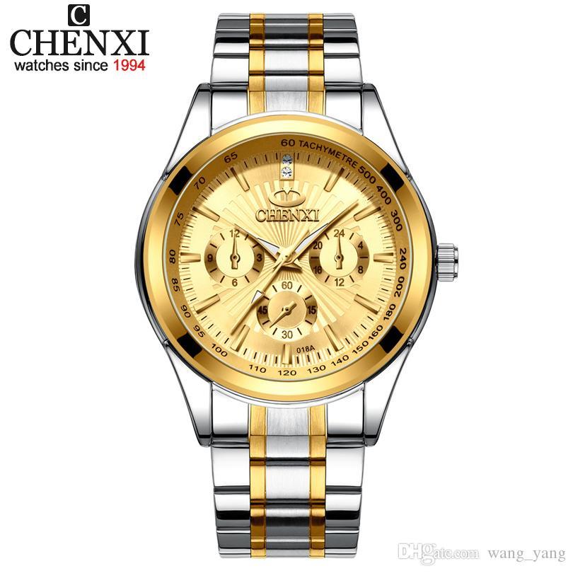 2e56f07d0e94 Compre Relojes 2019 CHENXI Marca De Lujo Relojes Moda Para Hombre Reloj De  Cuarzo De Acero Completo Reloj De Pulsera Superior De Negocios Relojes  Cronógrafo ...