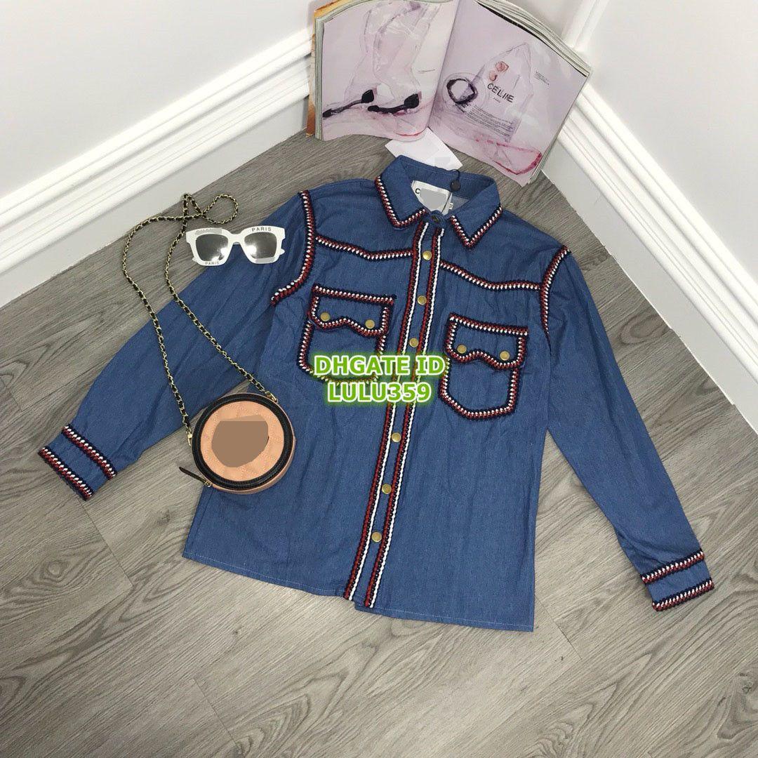 timeless design 2eaf3 bf45b Vendita calda Donna Cardigan giacca di jeans High-End Custom Lettera  Camicetta felpa Camicia manica lunga Paris Fashion Week Camicetta 707177
