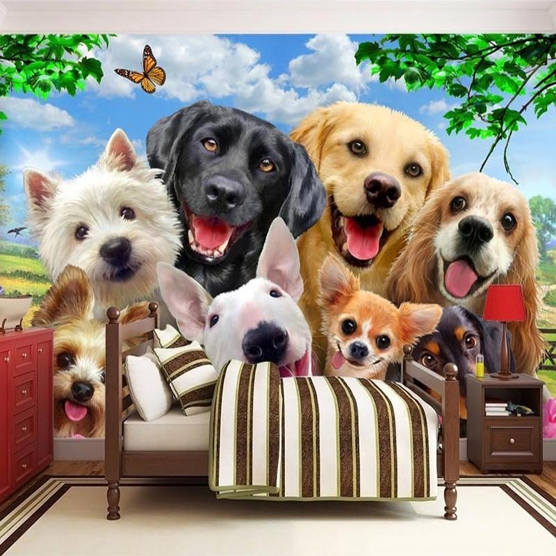 . 3D Wallpaper Cute Cartoon Lawn Dog Animal Photo Wall Murals Children Kids  Bedroom Backdrop Wall Home Decor Papier Peint Enfant