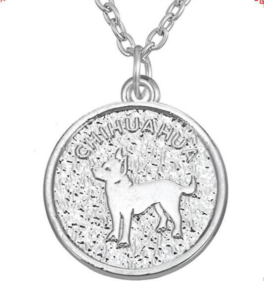 Chihuahua Necklace Dog Pet Round Pendant Silver/ Silver Plated Women Necklaces Jewelry